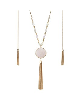 Mood pink stone tassel drop necklace