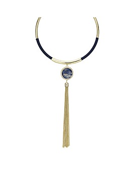 Mood blue stone tassel necklace