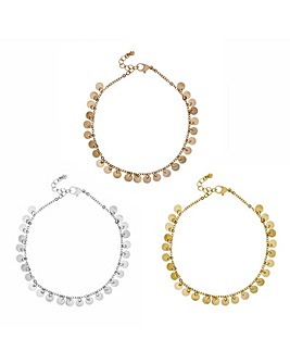 Mood multi tone anklet set