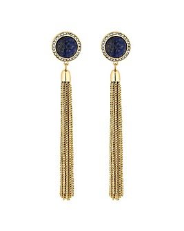 Mood blue stone tassel earring