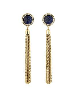 Mood blue stone tassel earring