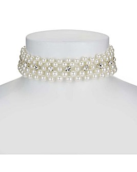 Mood pearl and crystal choker