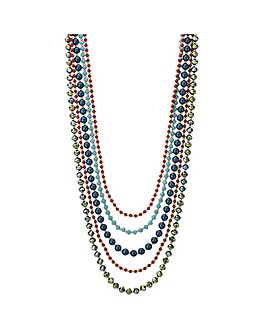 Mood beaded multi row necklace