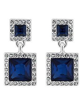 Jon Richard square crystal drop earring