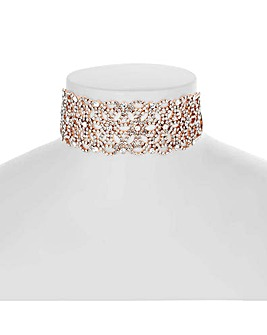 Mood rose gold floral diamante choker