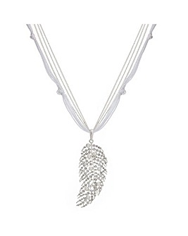 Mood pearl long feather necklace