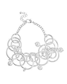 Mood silver circle pearl bracelet