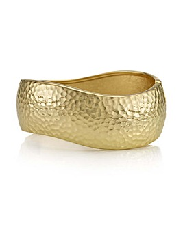 Mood gold textured wave bangle