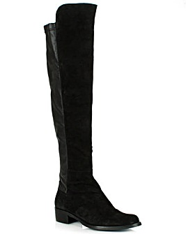Daniel Black Suede Flat Over Knee Boot