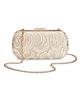 Corded Lace Hard Clutch Bag