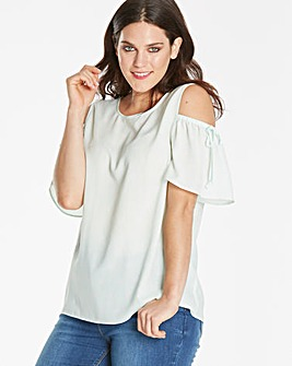 Mint Spot Cold Shoulder Shell Top