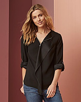 Waterfall Front Zip Blouse