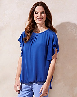Blue Bubble Hem Blouse