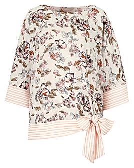 Ivory Prnt Kimono Blouse With Tie Hem