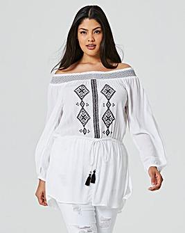 Off Shoulder Crinkle Embroidered Tunic