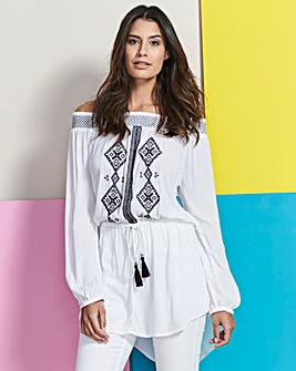 Off Shoulder Crinkle Embroidered Tunic