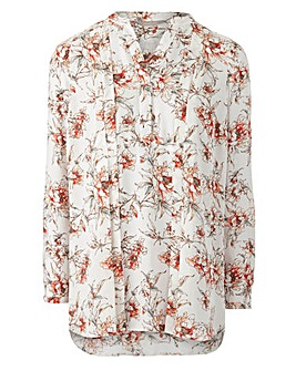 Multi Print Pleat Front Blouse