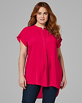 Placket Pleat Front Blouse