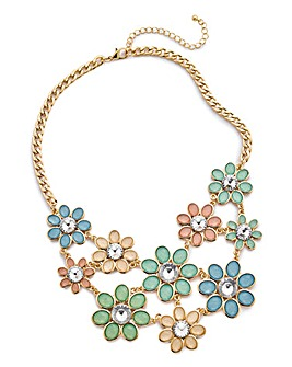 Jewel Flower Statement Necklace
