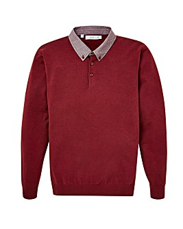 WILLIAMS & BROWN Woven Collar Jumper