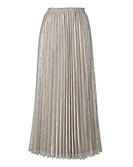 Joanna Hope Metallic Pleated Maxi Skirt