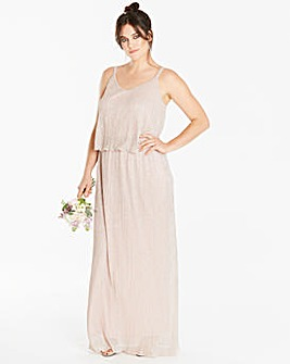 Joanna Hope Metallic Plisse Maxi Dress