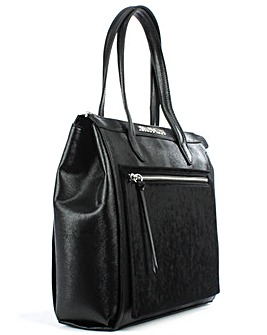 Armani Jeans Black  Top Zip Tote Bag