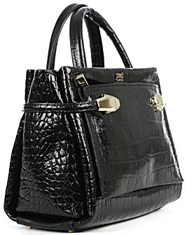 Class Cavalli Black Embossed Tote Bag
