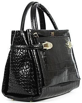 Class Cavalli Black Embossed Tote Bag