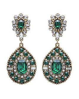 Mood Green ornate statement earring