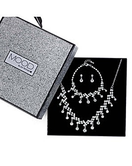 Mood Silver droplet jewellery set