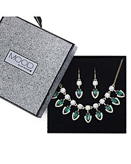 Mood Green Crystal droplet jewellery set