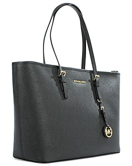 Michael Kors Black Leather Top Zip Tote