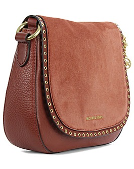 Michael Kors Burgundy Leather Saddle Bag