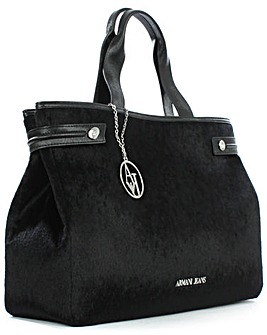 Armani Jeans Pony Hair Black Tote Bag