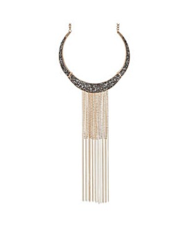 Mood tassel drop collar necklace