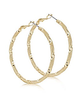 Mood gold textured hoop earring