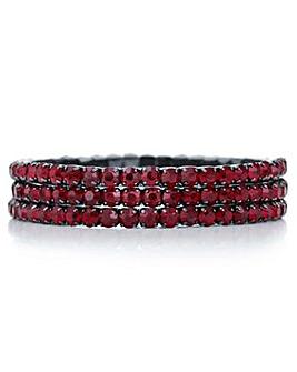 Mood red crystal diamante bracelet set