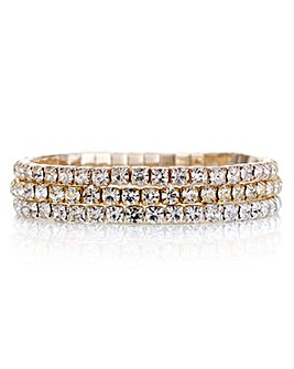 Mood multi tone diamante bracelet pack