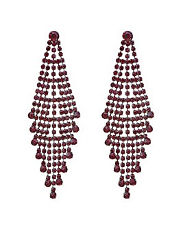 Mood red crystal chandelier earring