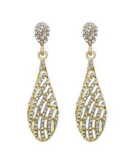 Mood gold pave swirl drop earring