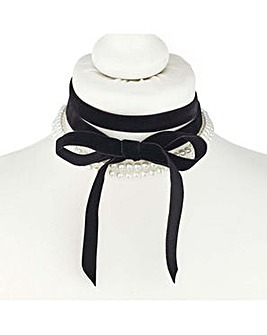 Mood pearl and bow choker necklace set