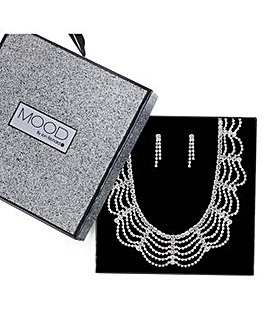 Mood diamante loop jewellery set