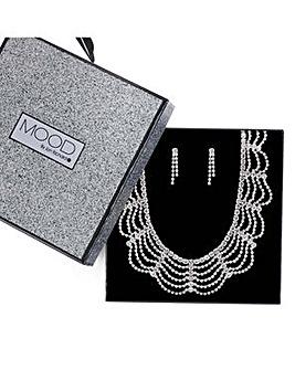 Mood diamante loop jewellery set