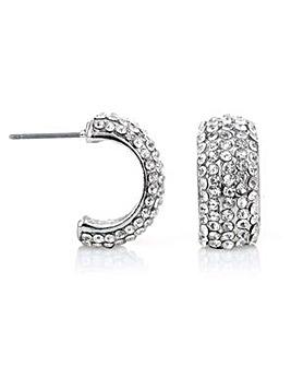 Mood silver pave hoop earring