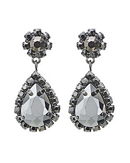 Mood grey crystal peardrop earring
