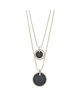 Mood black glitter drop circle necklace