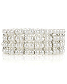 Mood cream pearl stretch bracelet