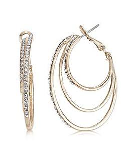 Mood rose gold diamante loop earring