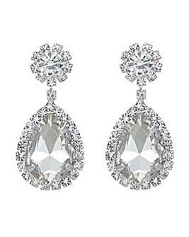 Mood silver crystal teardrop earrings